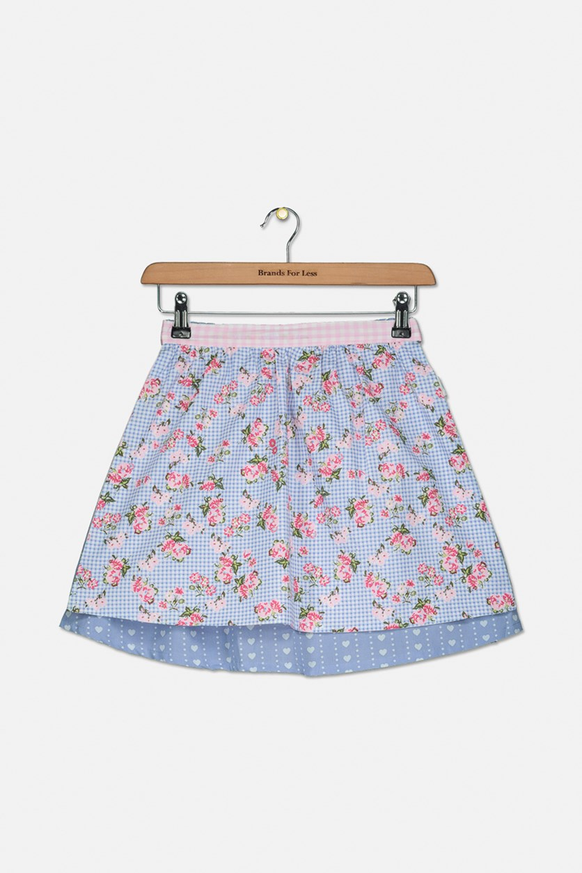 Girl's Skirt With Reversible Apron, Blue/Pink/Purple
