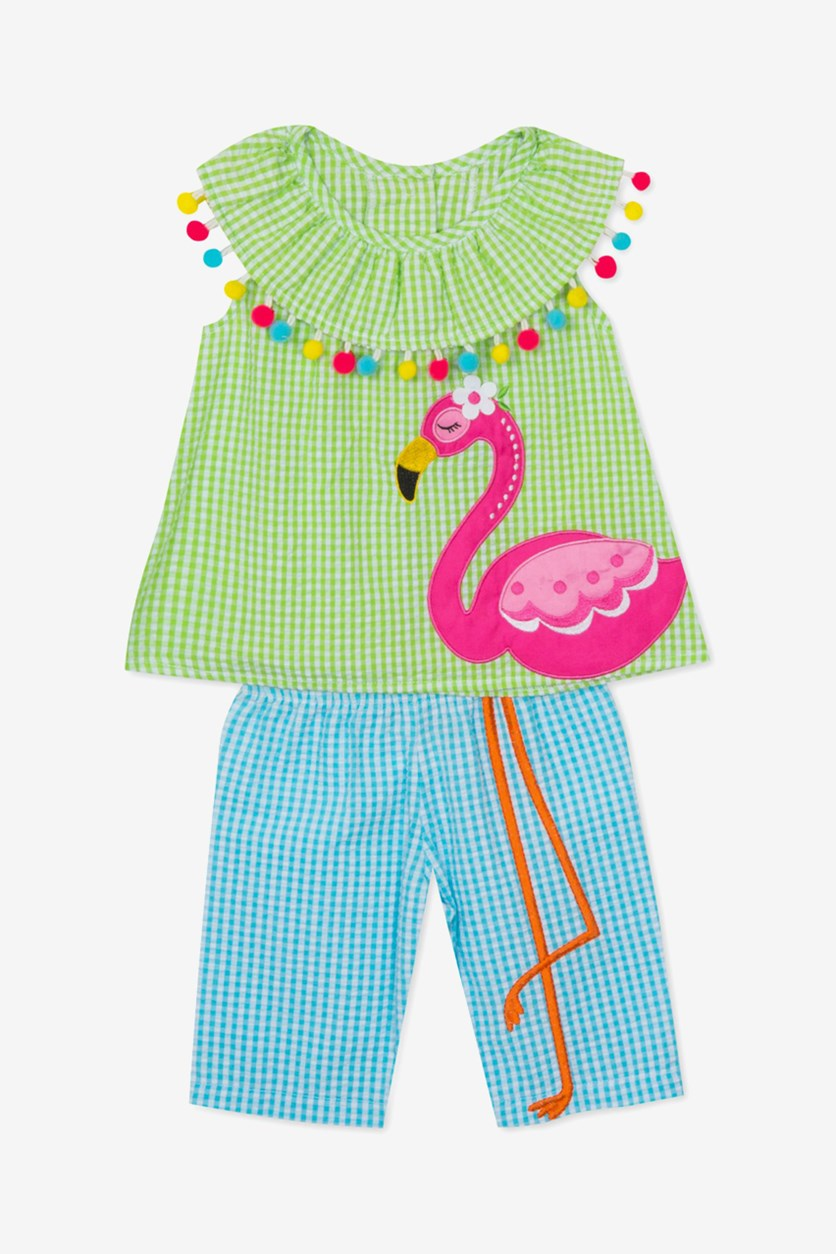 Baby Girls Flamingo Tunic & Capri Pants Set, Green/Blue