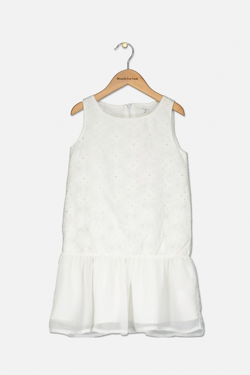 Kids Girl's Textured Floral Dress, White