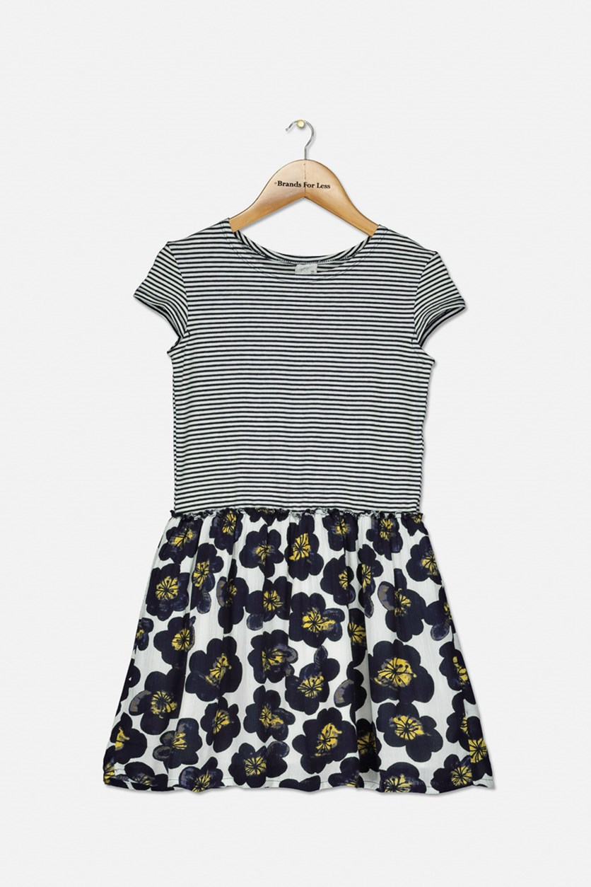Girl's Stripe and Floral Print Dress, Navy/White