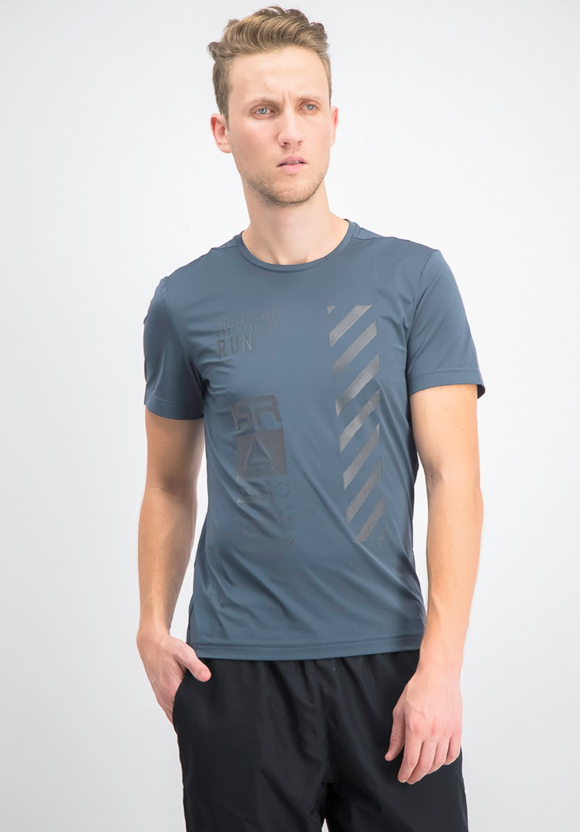 Men's Running Reflective Tee, Smokey Indigo