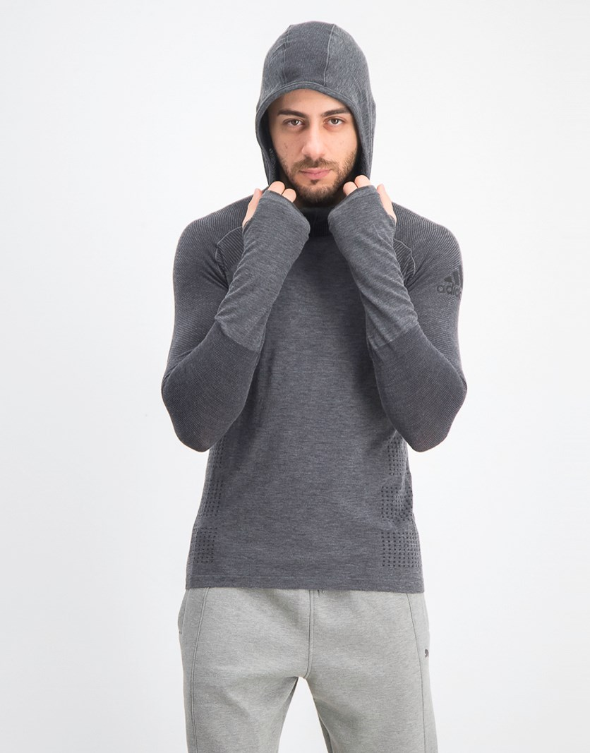 Men's Climaheat Primeknit Hooded Top, Charcoal