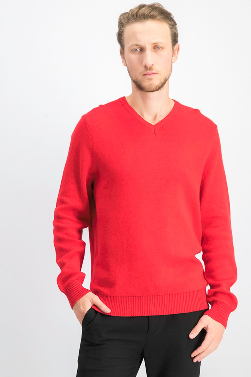 Men's V Neck Sweater, Red