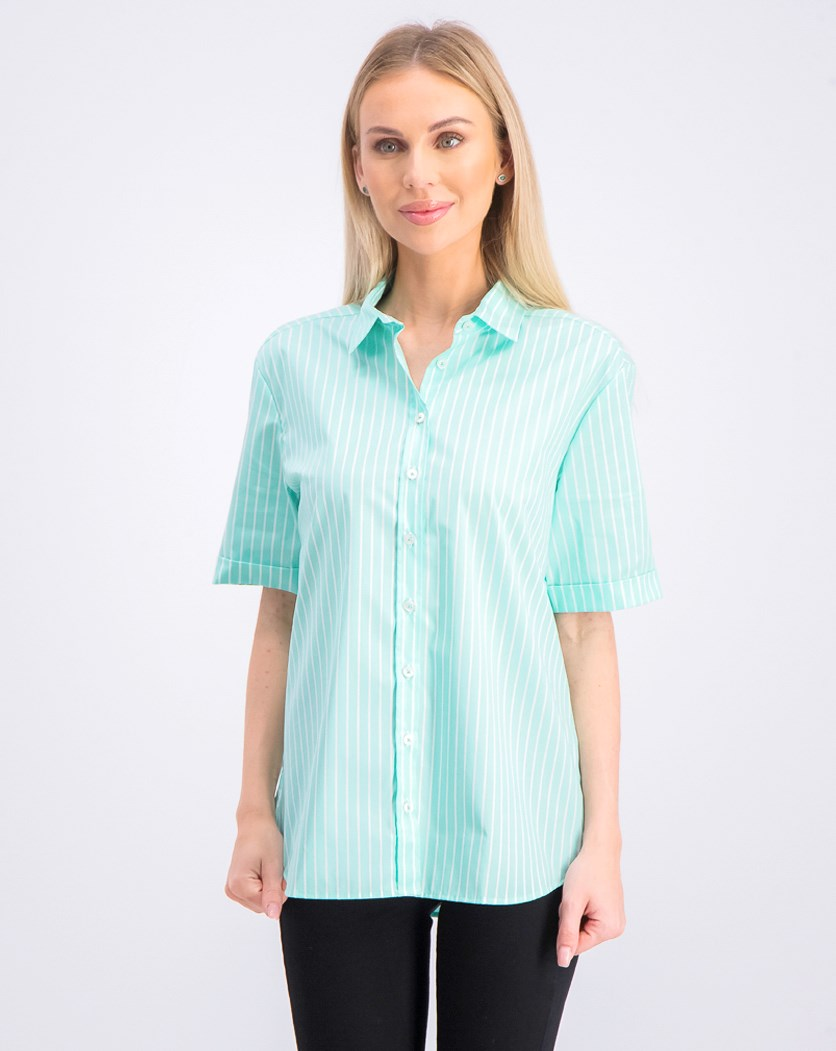 Women's Allover Print Stripes, White/Turquoise