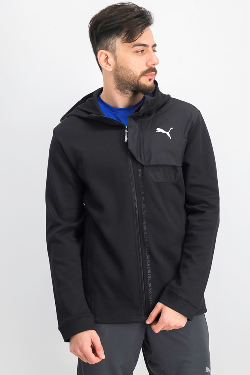 Men's Full Zipper Hooded Jacket, Black