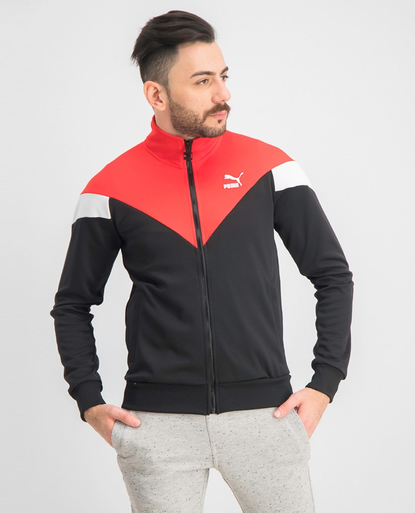 Men's Iconic MCS Track Jacket Mesh, Black/Red