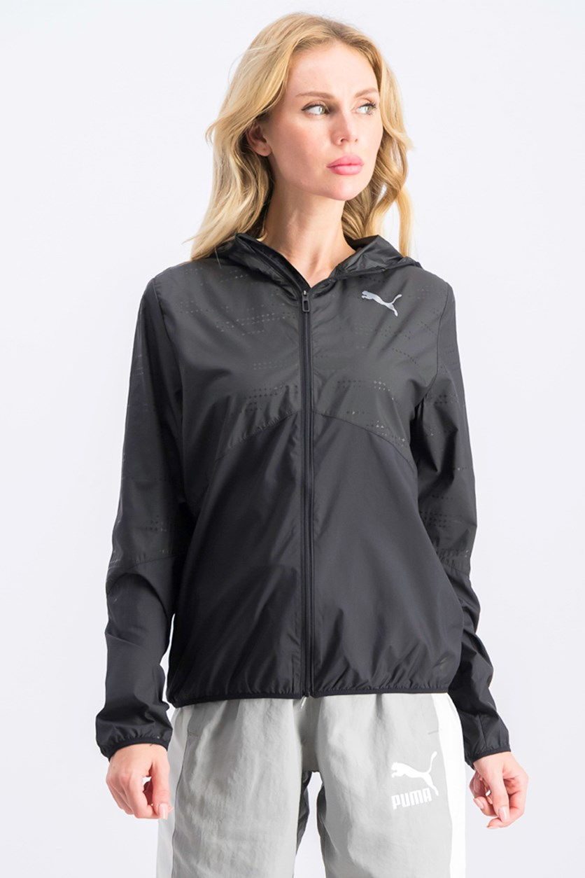 Women's Hooded Wind Jacket, Black
