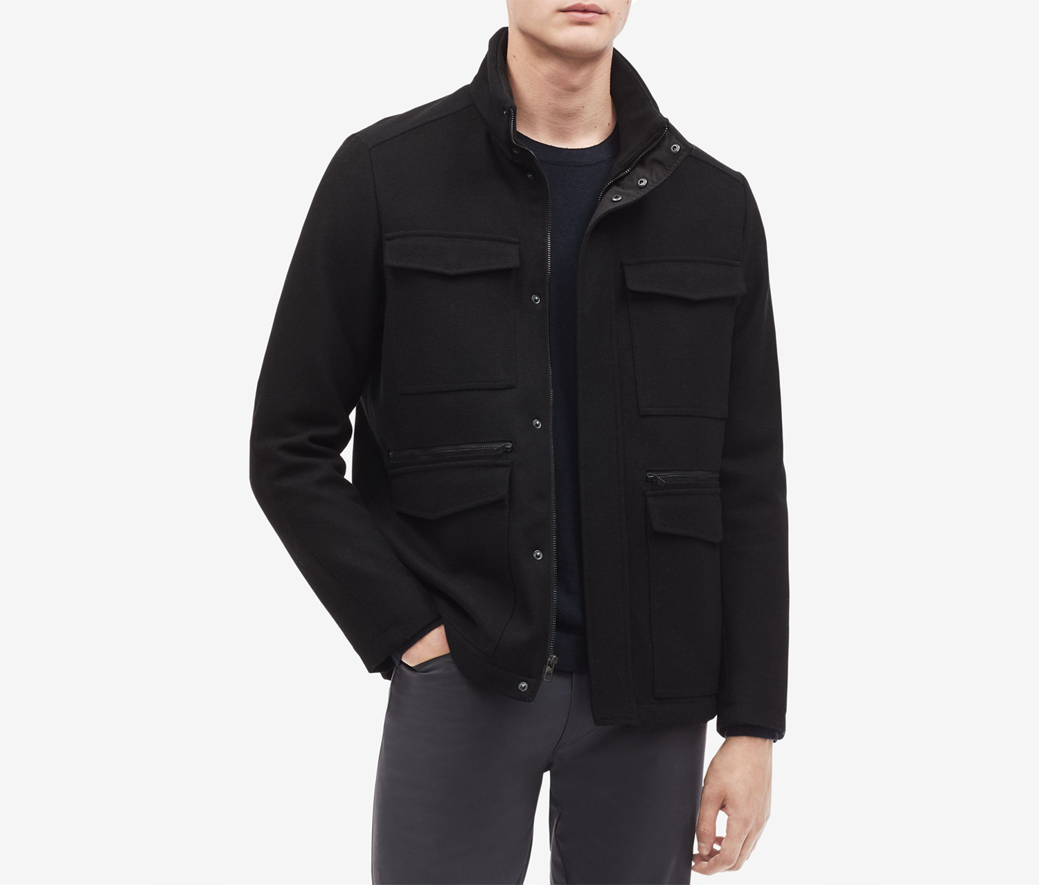 Men's Wool-Blend Jacket, Black