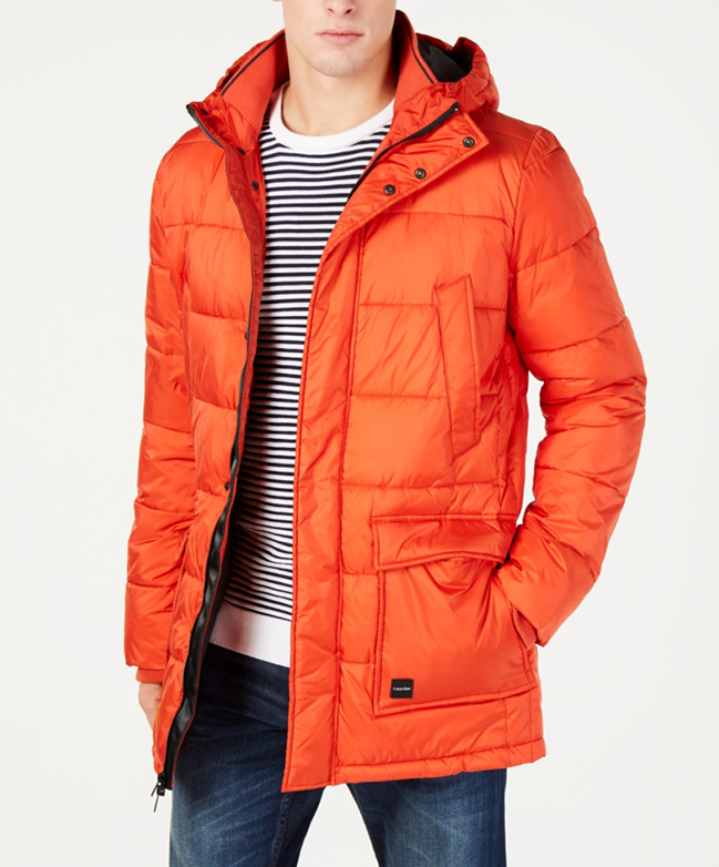 Men's Classic Fit Puffer Jacket, Orange