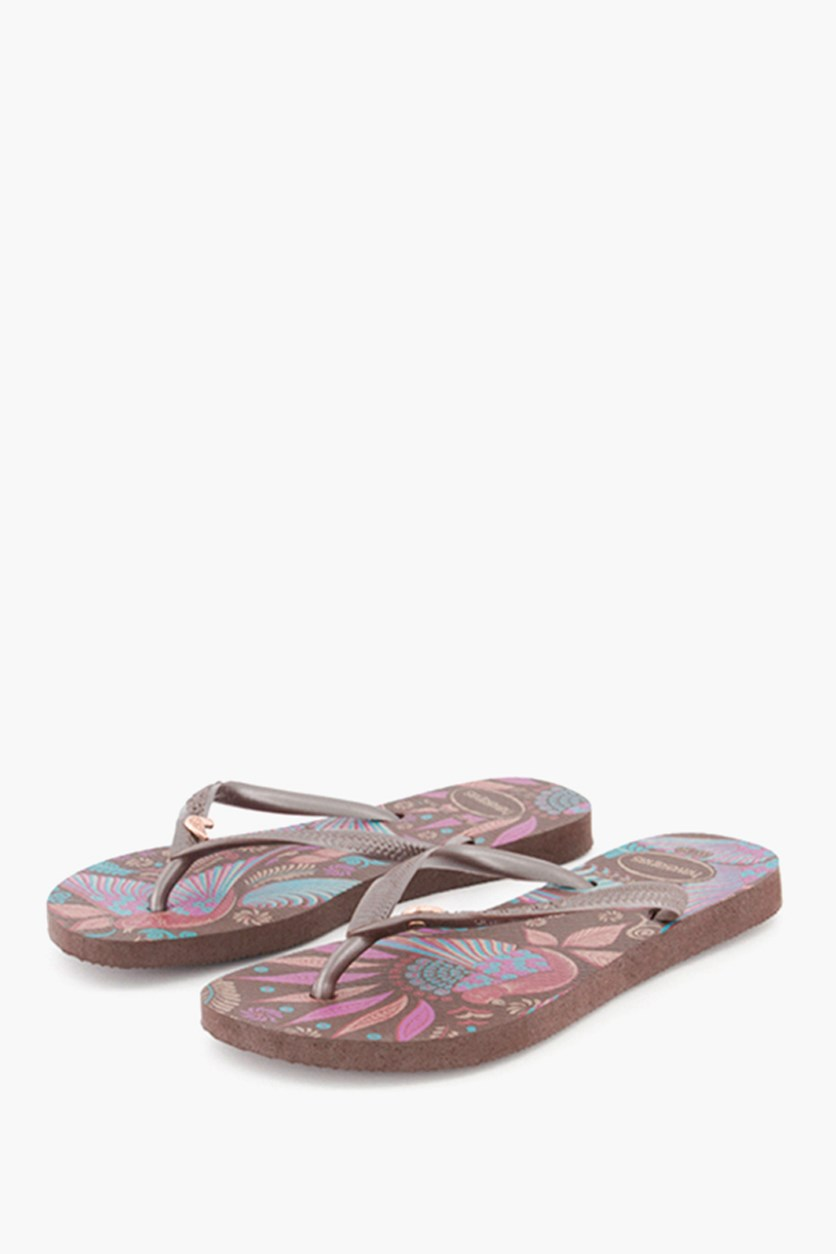Kid Girls' Slim Royal Flip Flops, Dark Brown