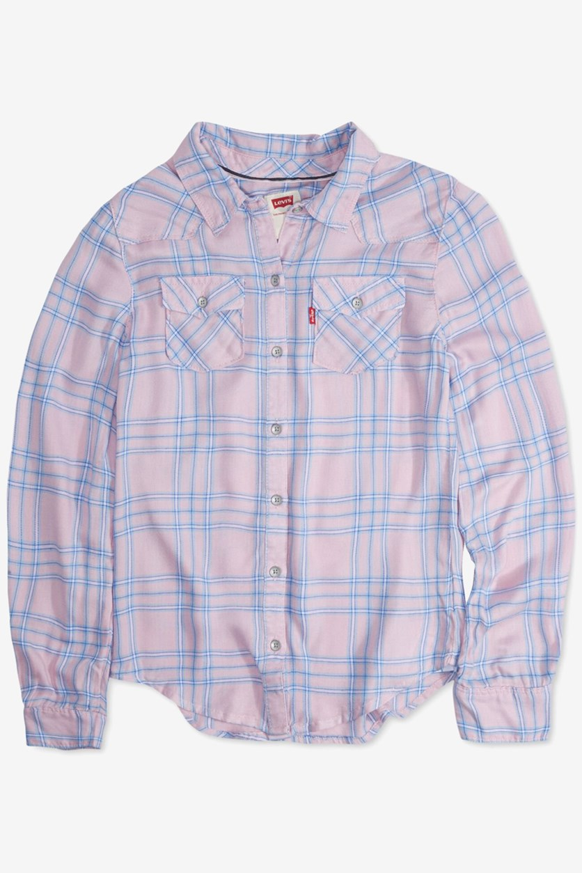 Big Girls Cotton Plaid Shirt, Pink/Blue