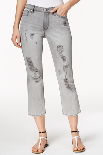 Women's Ripped Cropped Jeans, Grey Fog Wash