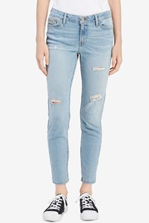 Women's Blue Ripped Skinny Jeans, Blue