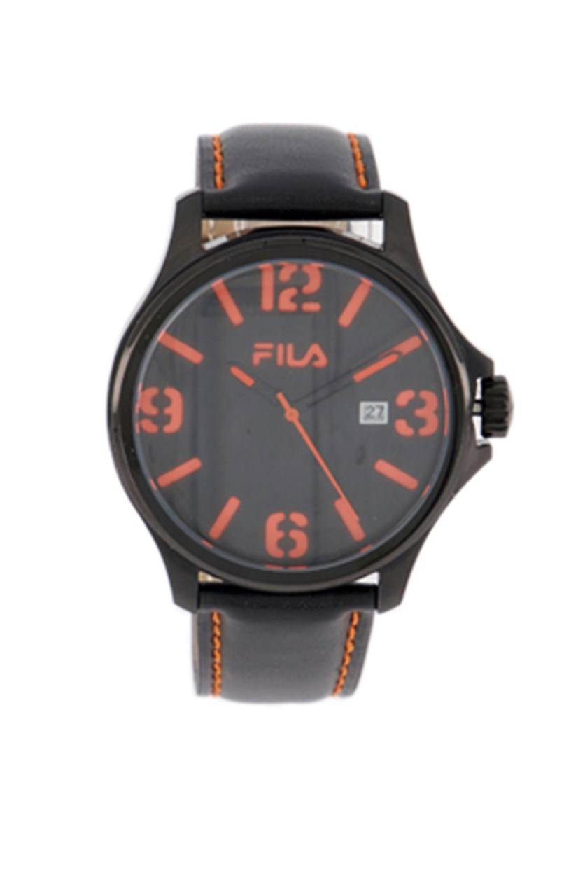 Men's Analog Watch, Black/Orange