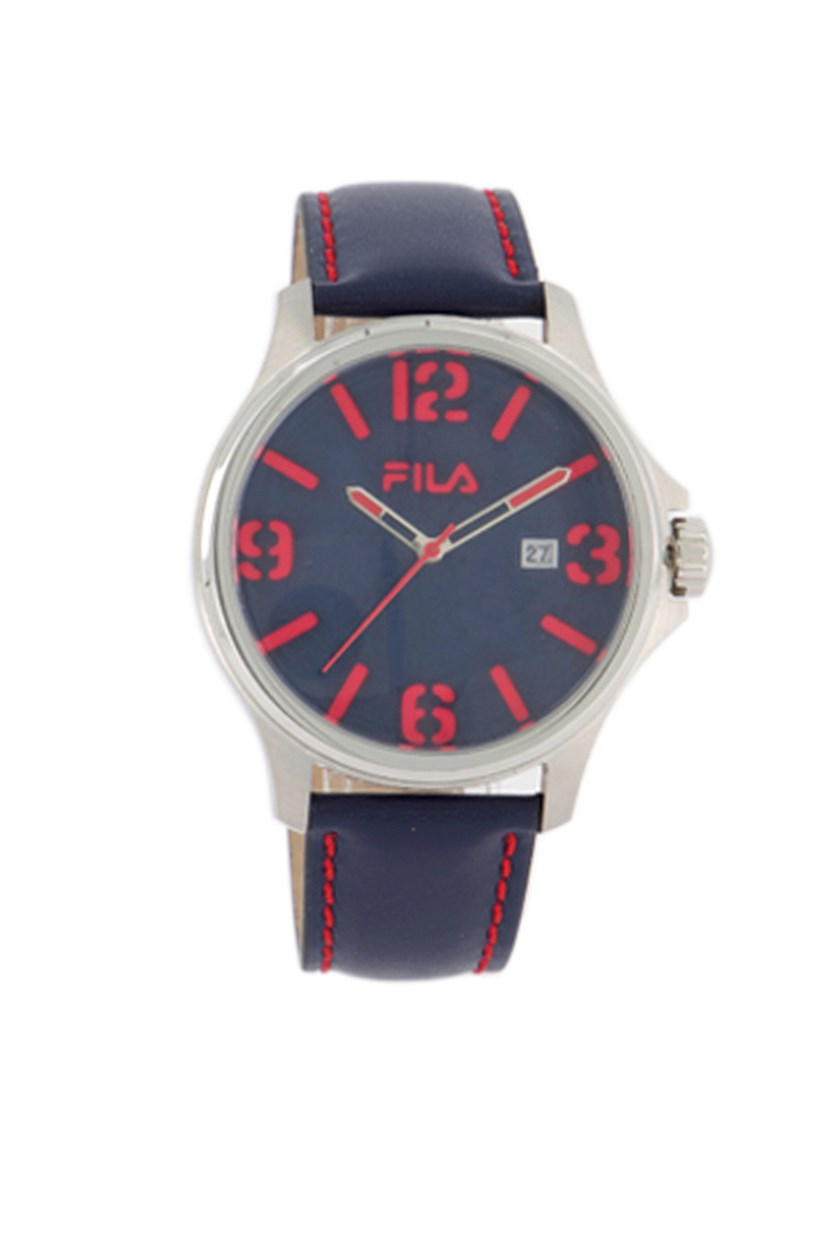 Men's Genuine Leather Strap Watch, Navy