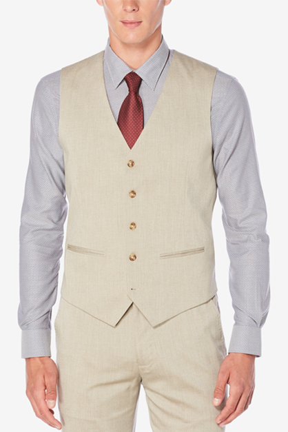 Men's Classic-Fit Chambray Vest, Beige
