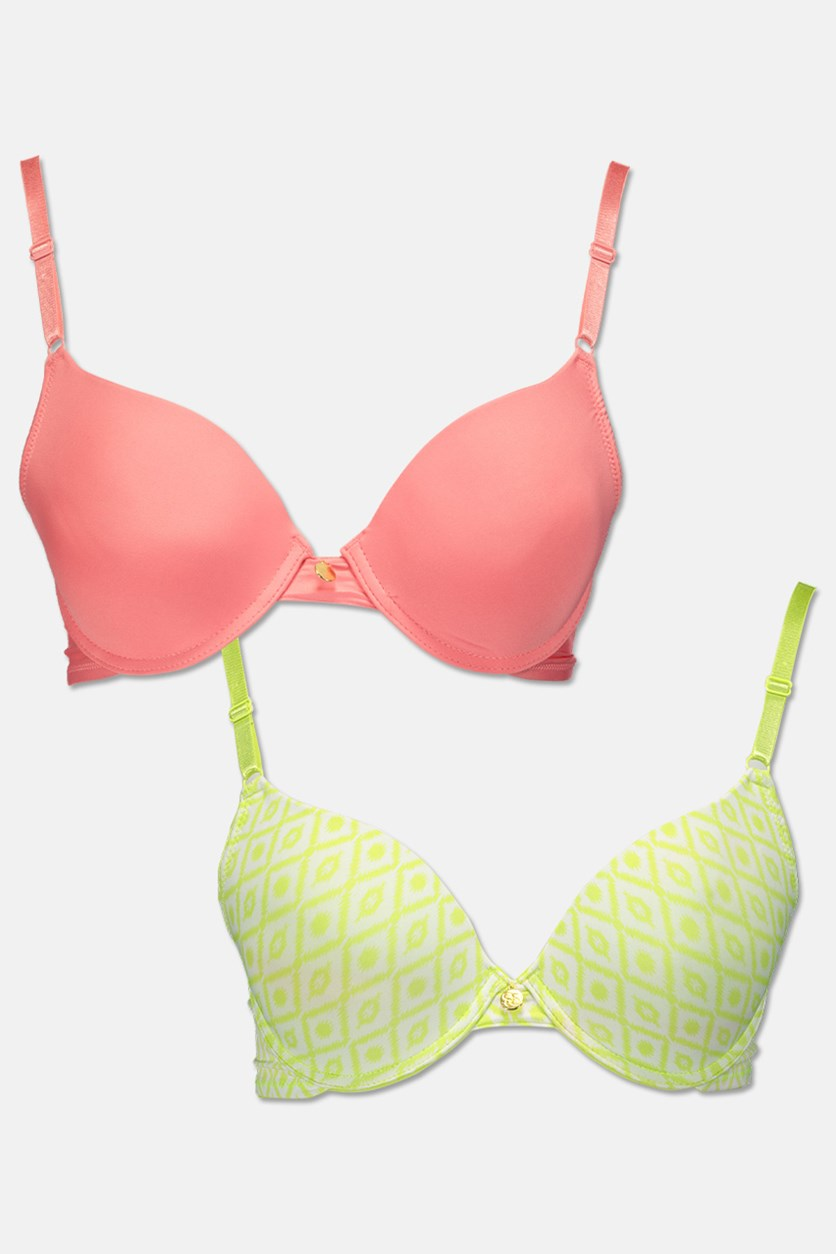 Women's 2 Pc Printed Push Up Plunge With Js Charm, Lime/Pink