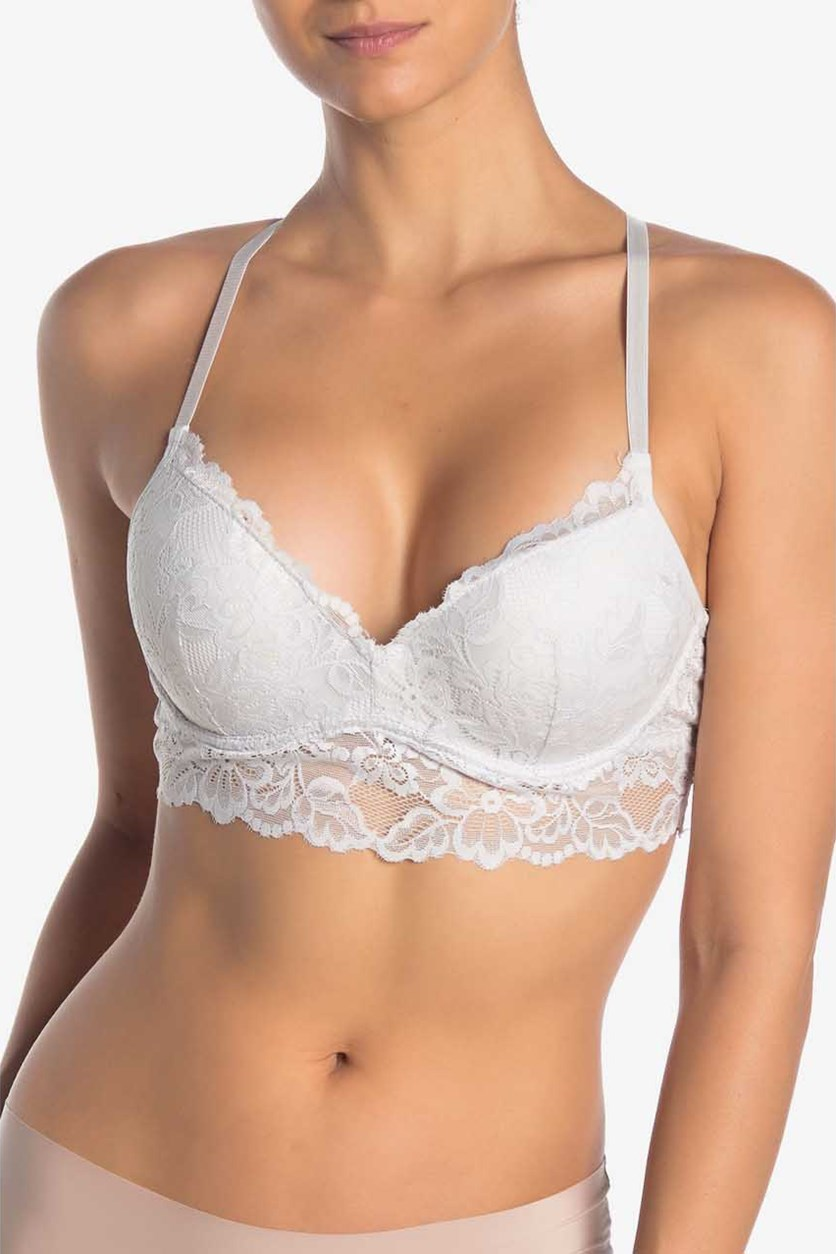 Women's Lace Racer-back Push-Up Bra, Nimbus Cloud