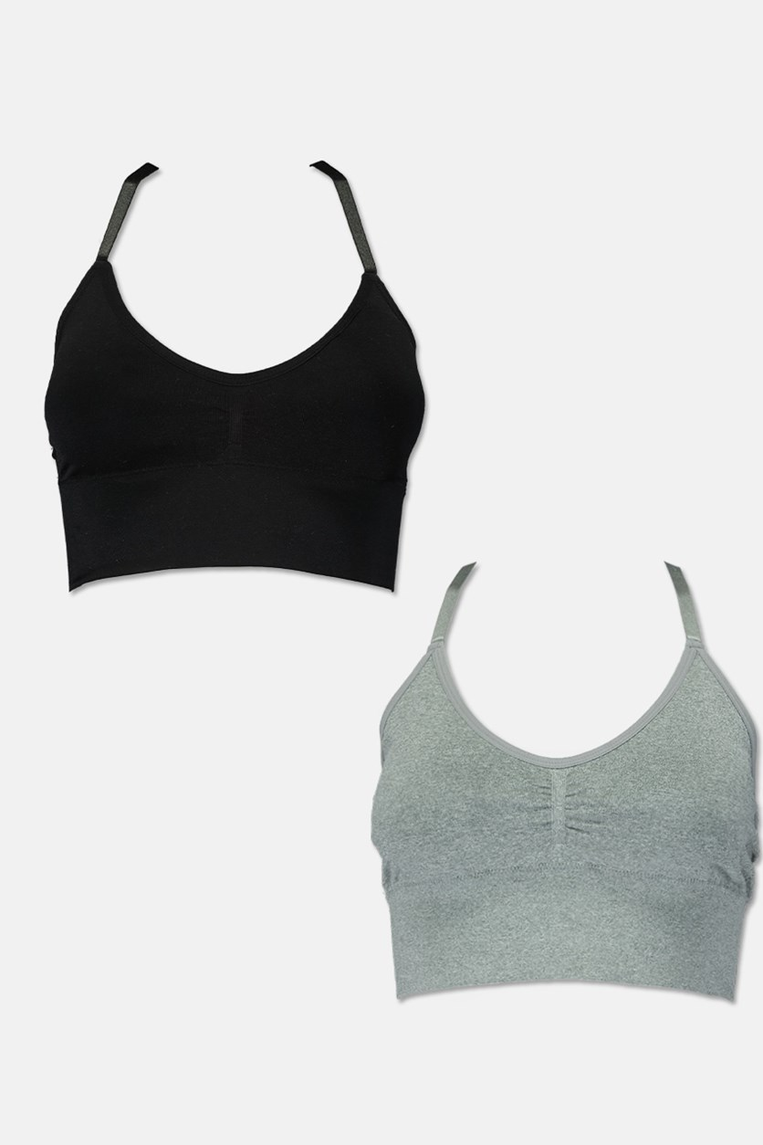 Women's Set of 2 Seamless Comfort Bra With Removable Pads, Black/Grey