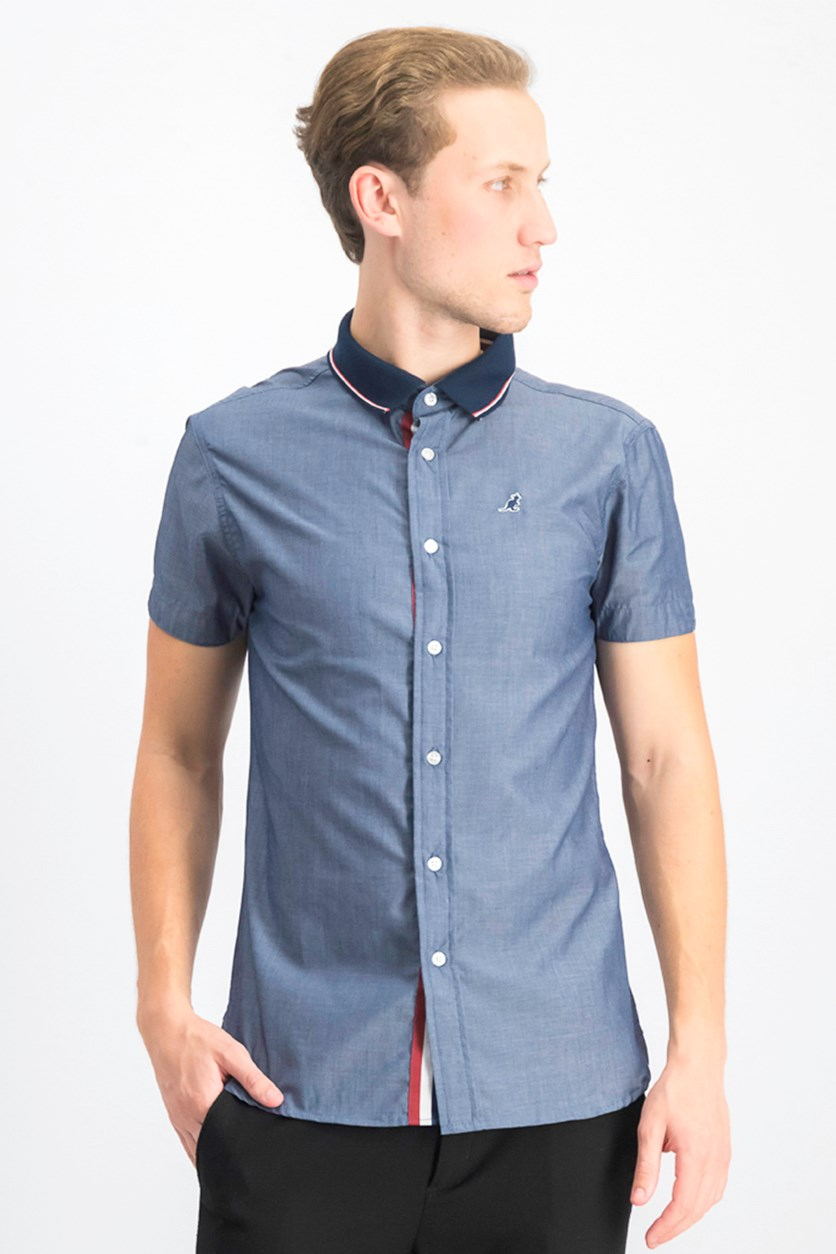 Men's Pull Down Button Shirts, Chambray Blue