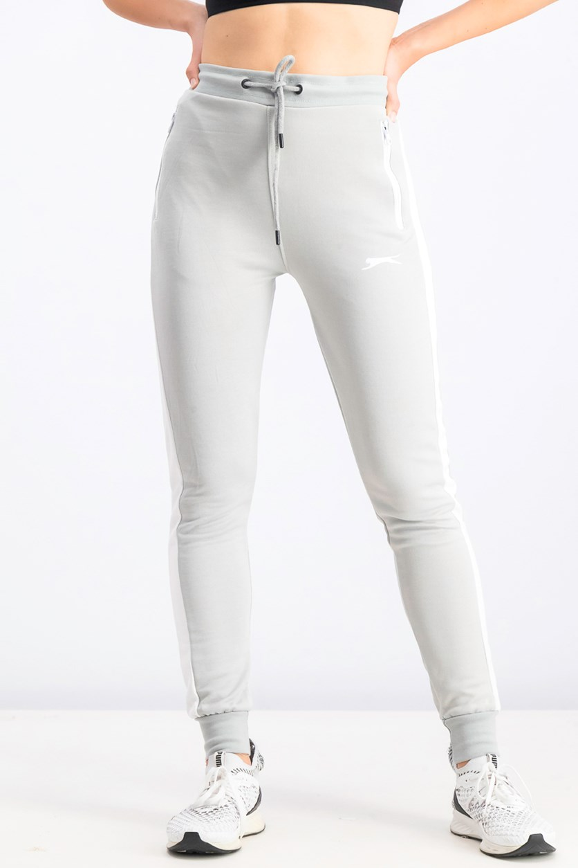 Women's Contrast Jogger Pants, Light Gray/White