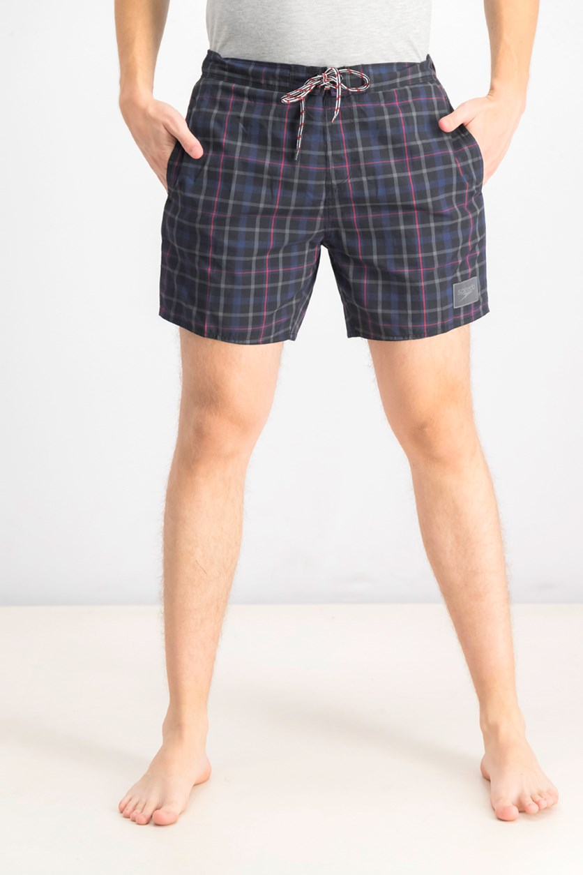 Men's Checkered Leisure Swim Shorts, Black/Navy