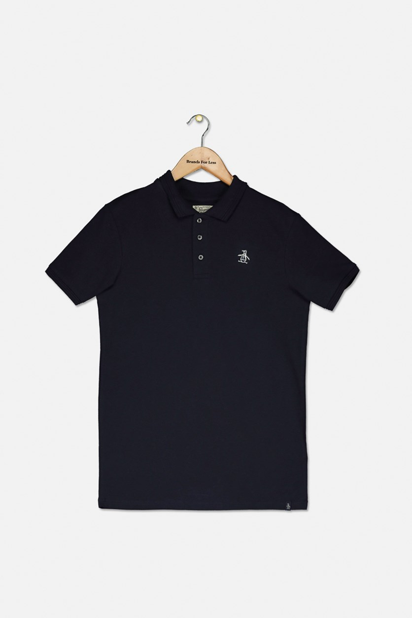 Boy's Raised Tipped Polo Shirt, Navy