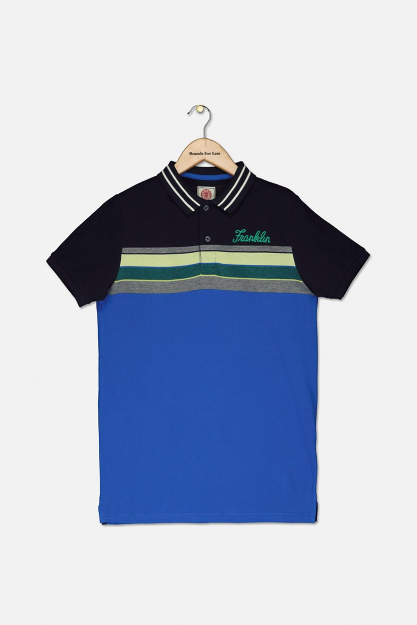 Kids Boy's Block Stripe 99 Polo Shirt, Cobalt