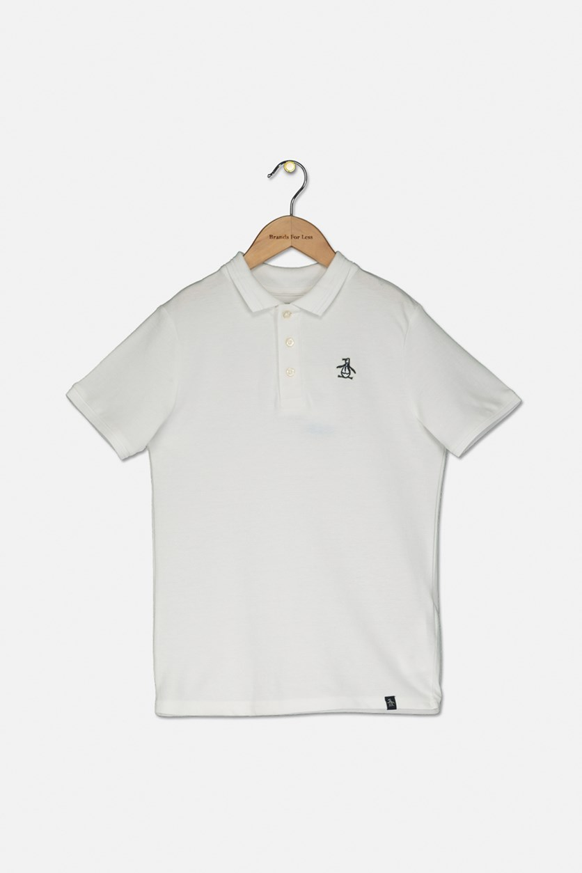 Boys Pullover Raised Tipped Polo, Bright White