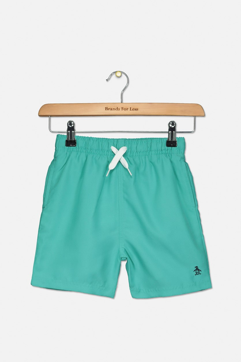 Kids Boy's Branded Swim Short, Bright Aqua