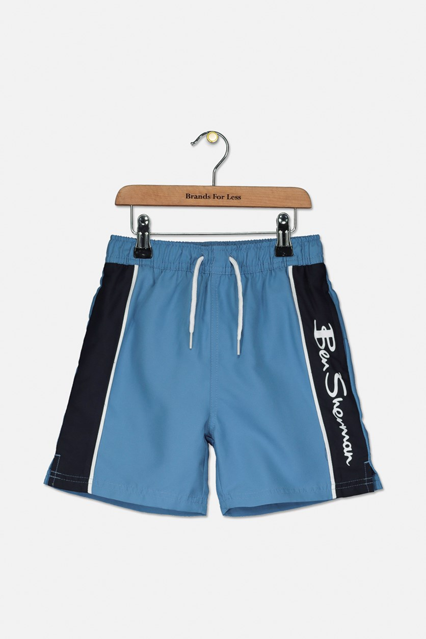 Boy's Vertical Logo Panel Swim Short, Riviera