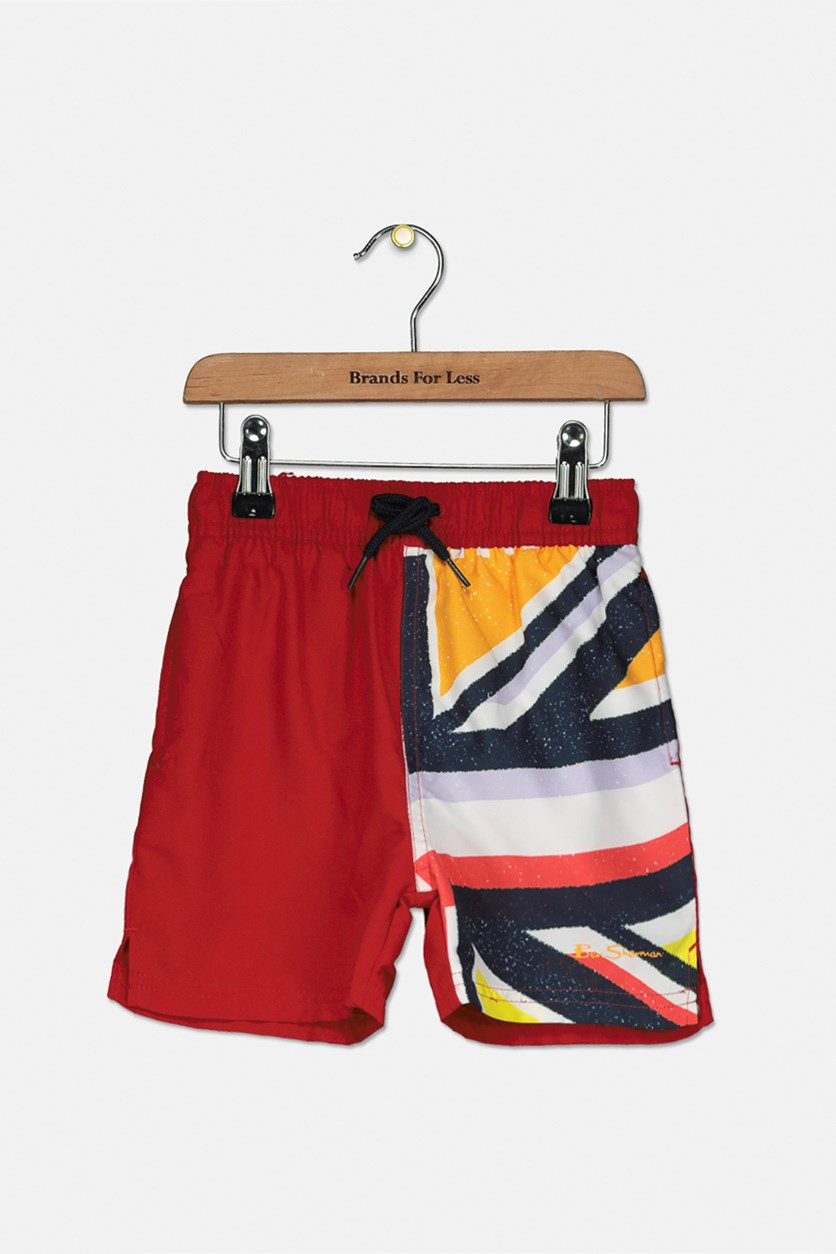 Toddler's Union Jack Sliced Swim Short, Dawn Red