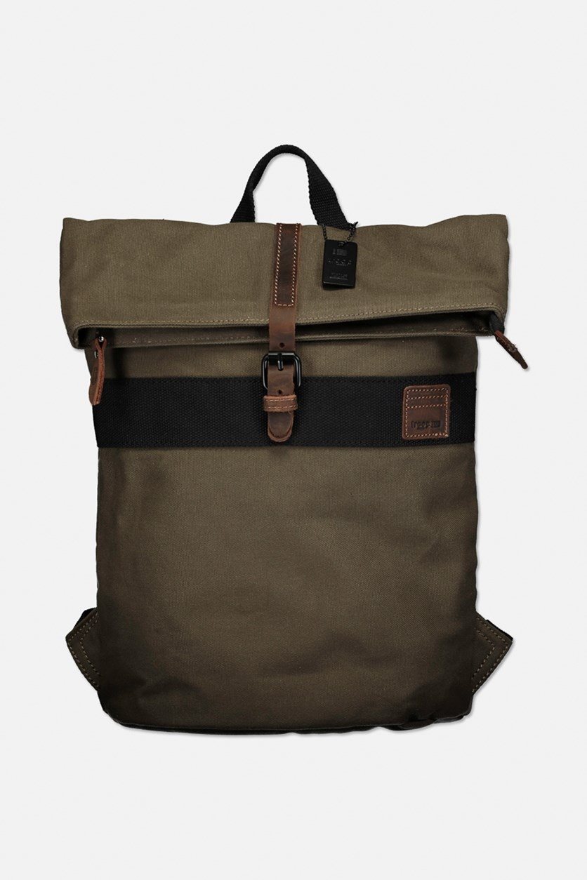Men's Brand Logo Wet Wax Coated Canvas With Leather Trim Back Pack, Olive