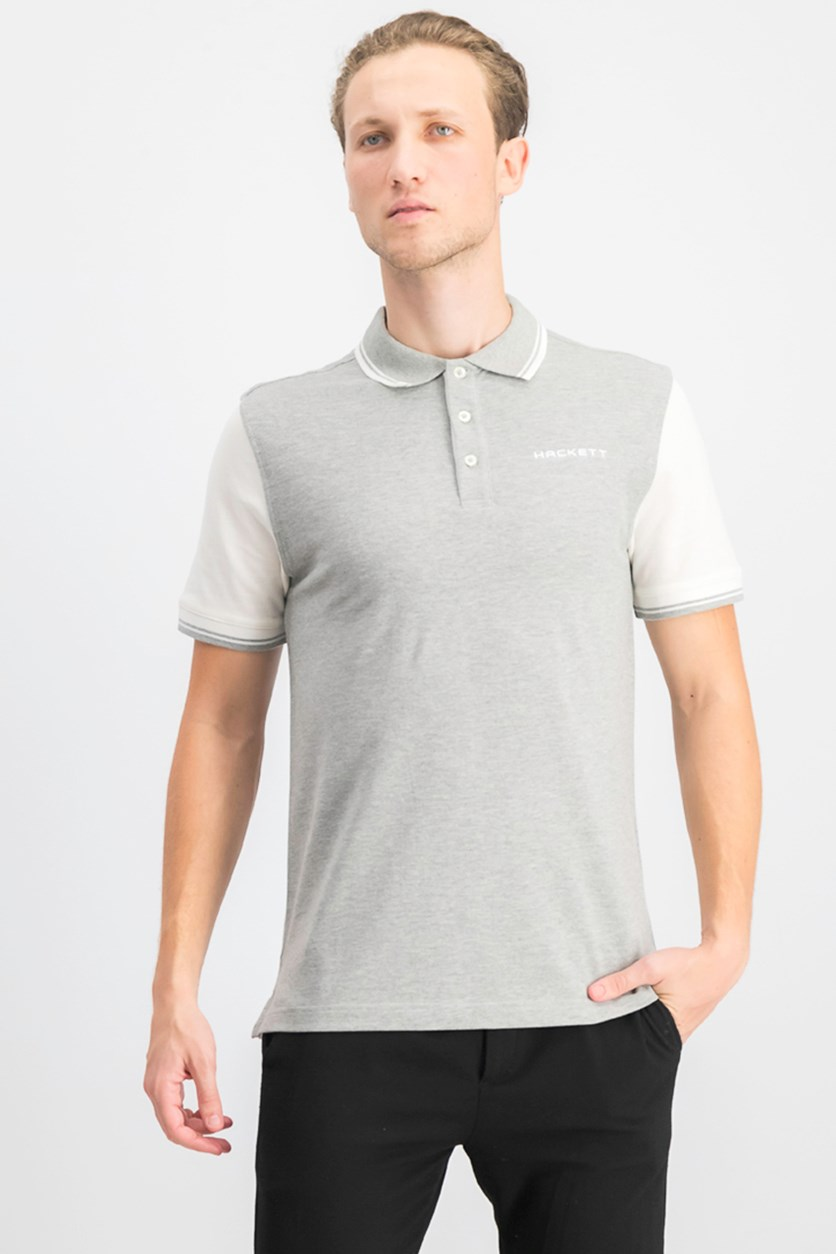 Men's Cotton Polo Shirt, Metal Heather/White