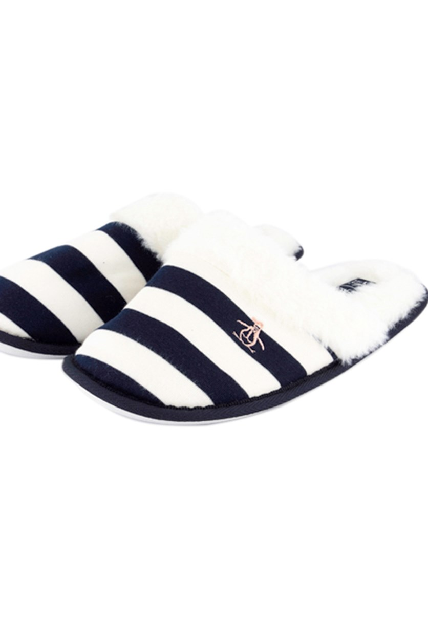 Women's Striped Slipper, White/Navy