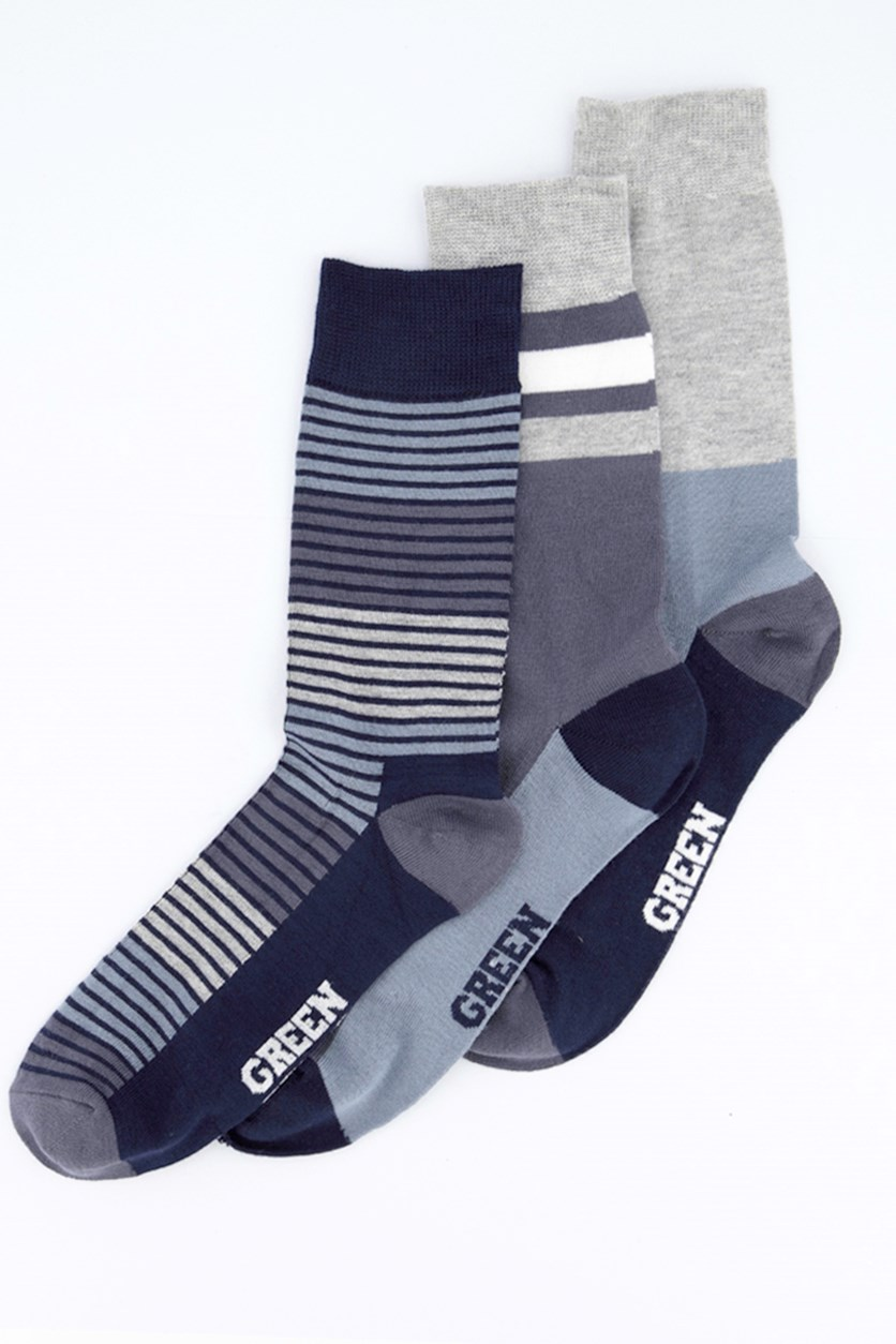 Men's 3 Pack Socks, Grey/Navyblue/Lightblue/Silver/White