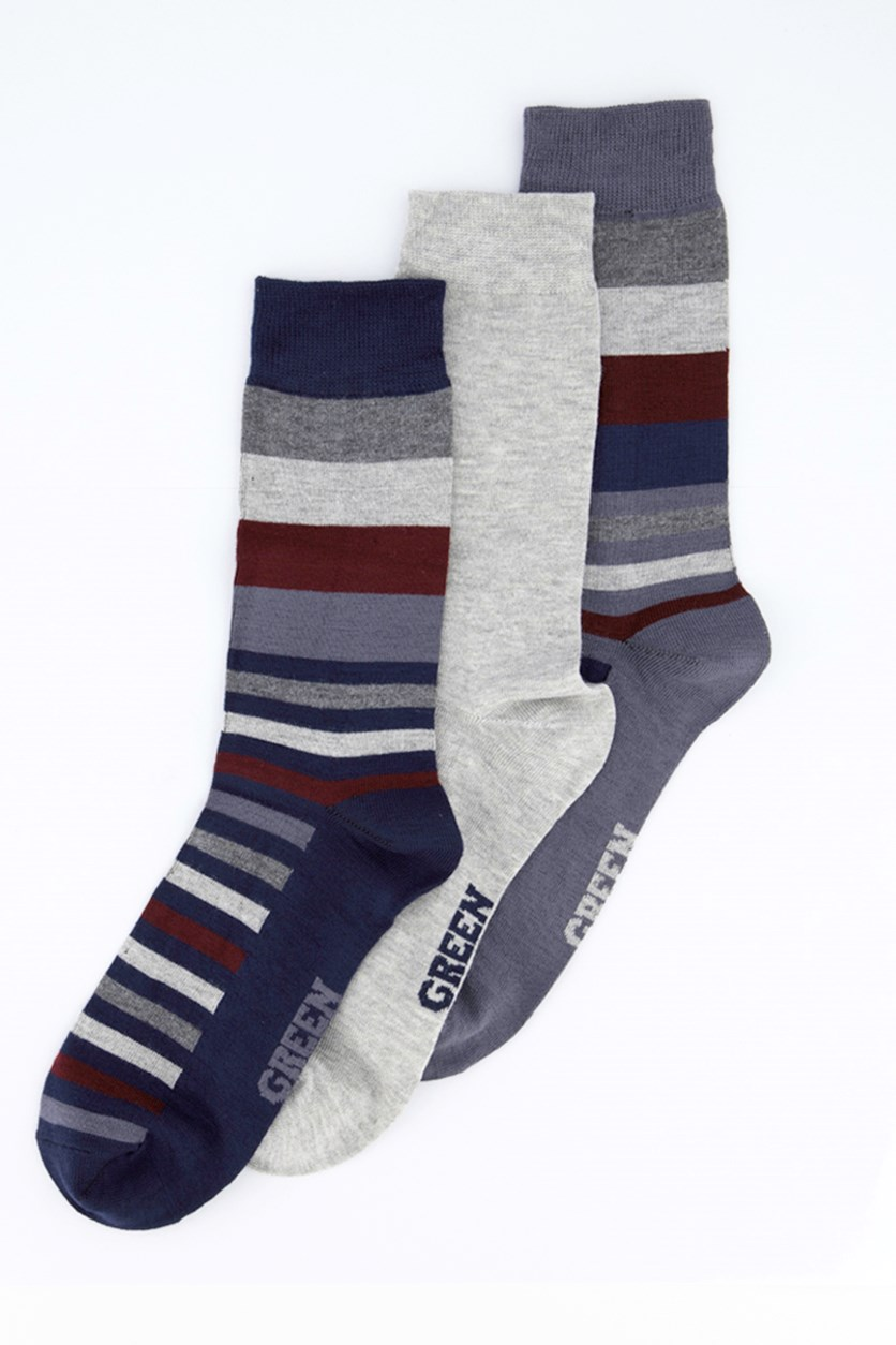 Men's 3 Packs Socks, Navy Blue/Maroon/Grey/Silver