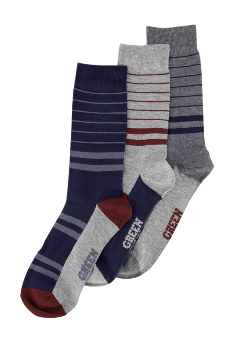 Men's Super Soft 3 Packs Of Stripes Socks, Navy Blue/Maroon/Grey