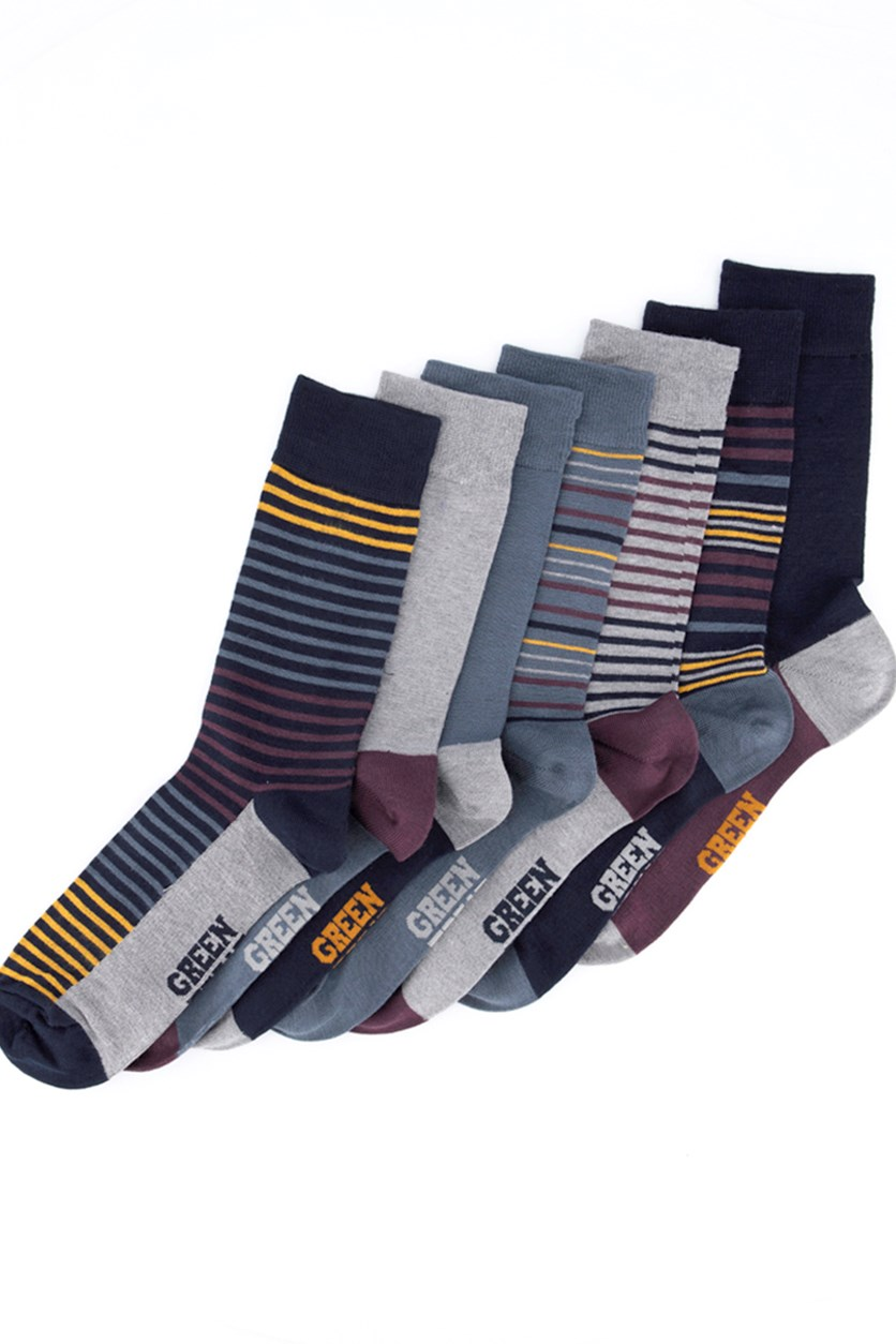 Men's 7 Supersoft Pack Of Socks, Navy Blue/Maroon/Grey