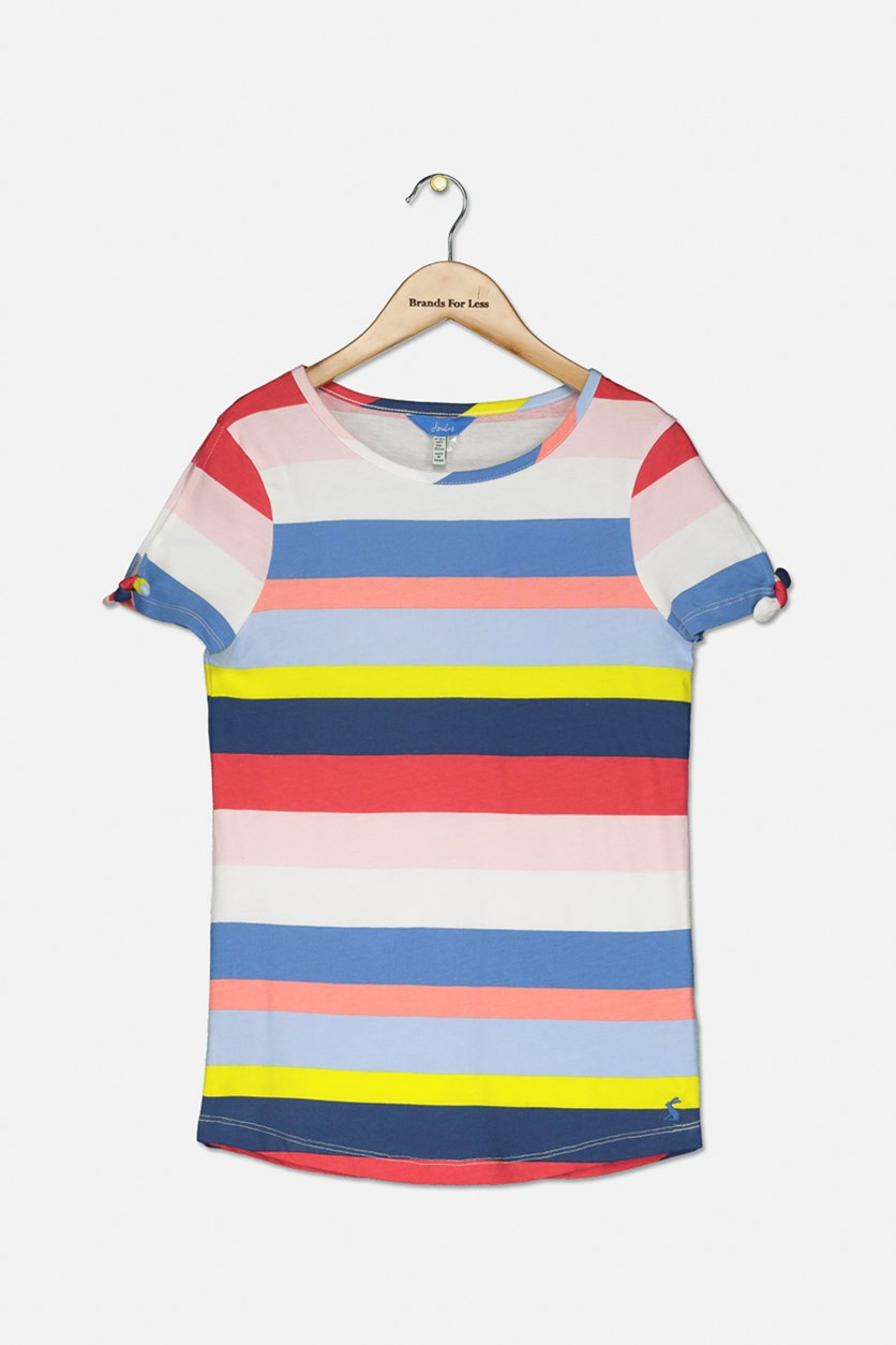 Girl's Liv Tie Sleeve Top, Blue/Pink/Yellow
