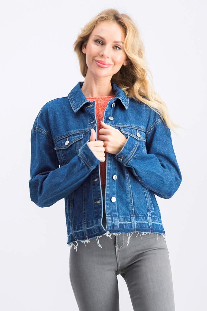 Women's Fall Cropped Denim Jacket, Blue