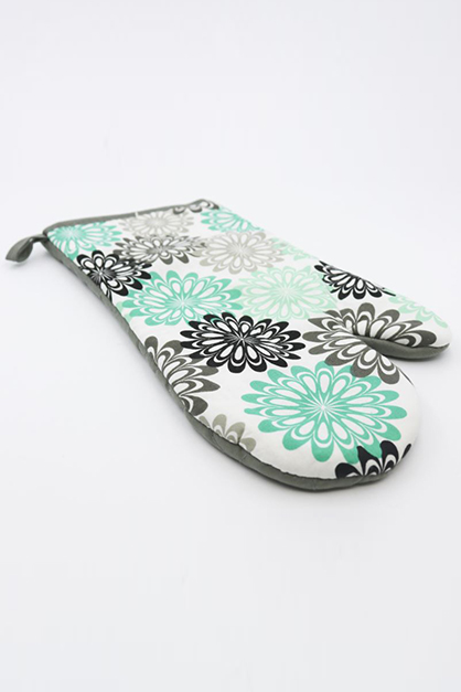 Printed Oven Mitt, Green/White