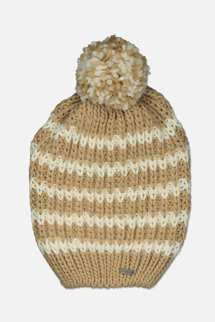 Women's Two Tone Knitted Pompom Cap, Tan/Off White