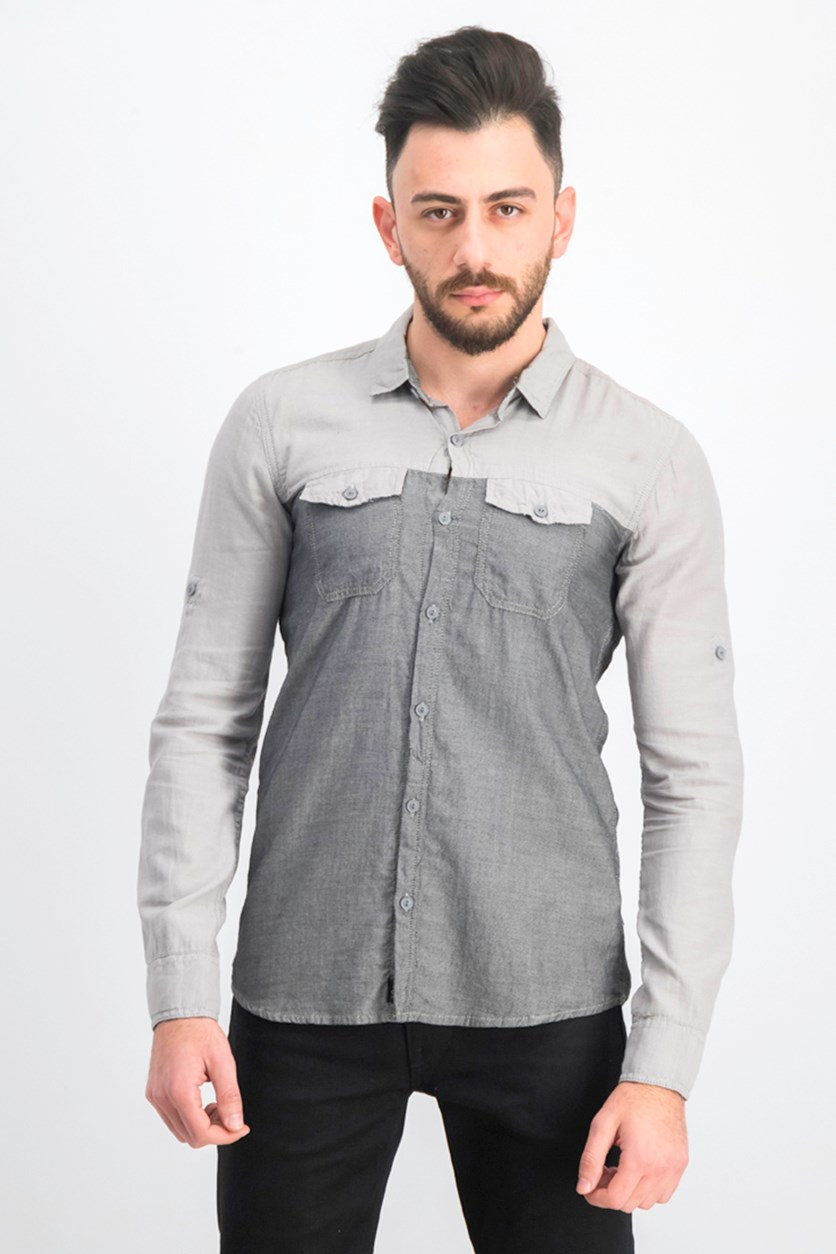 Men's Colorblocked Pull Down Button Shirts, Light Grey Heather