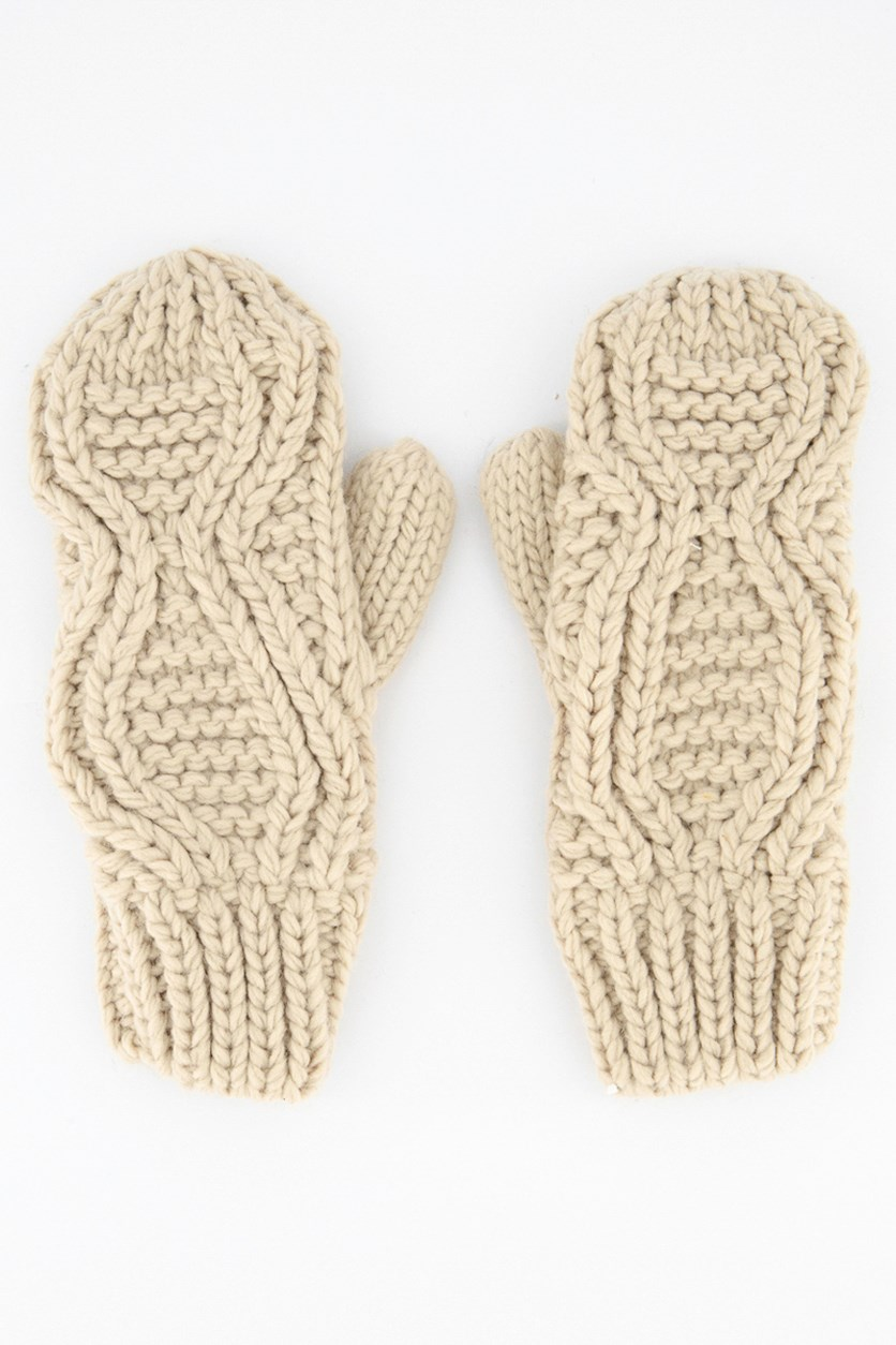 Women's Knitted Gloves, Beige