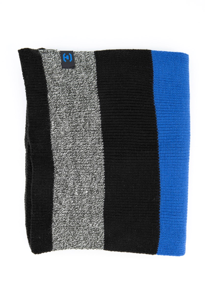 Mens Textured Scarf, Black/Grey/Blue