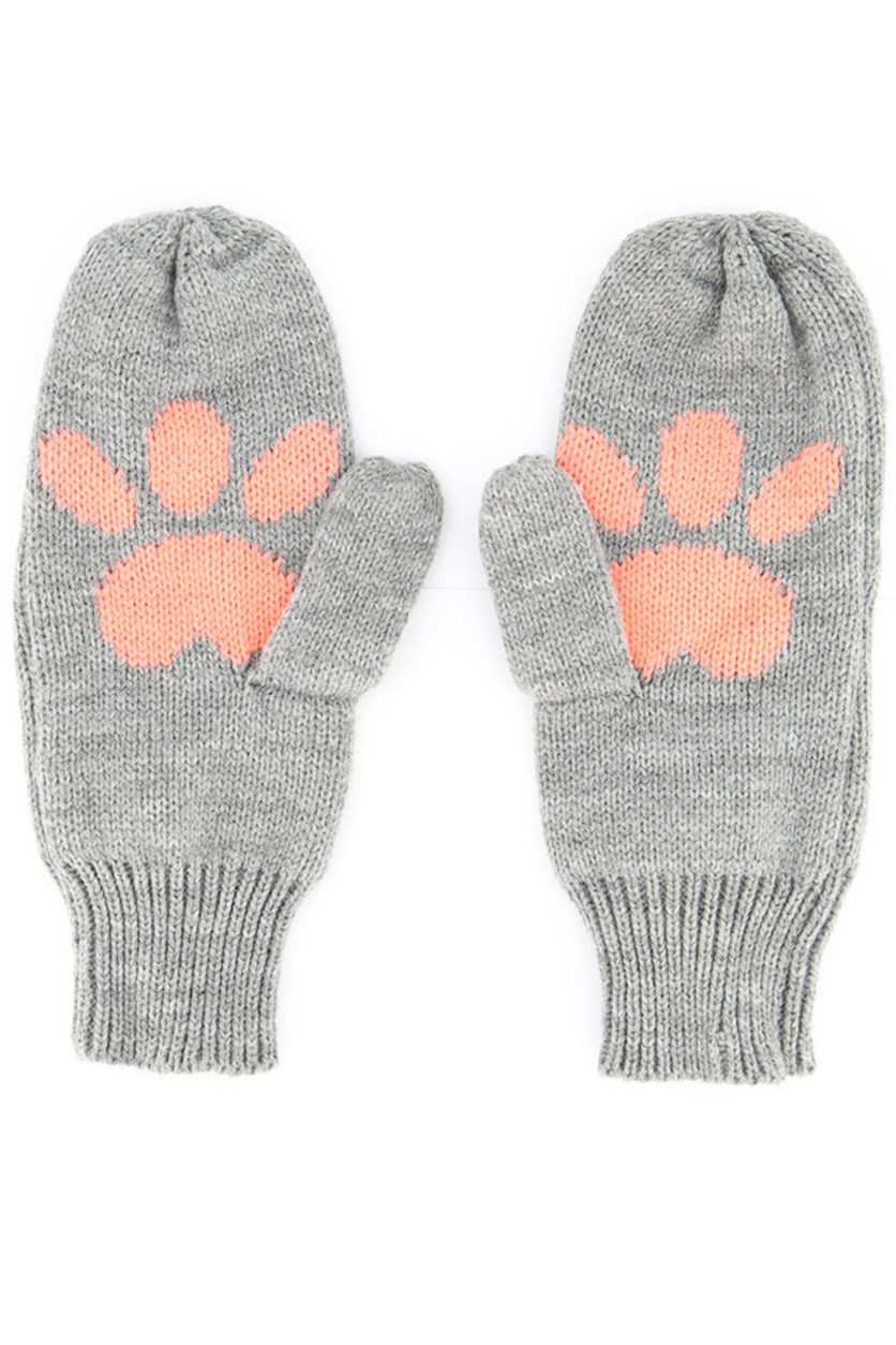 Ladies Animal Paw-Print Gloves, Grey