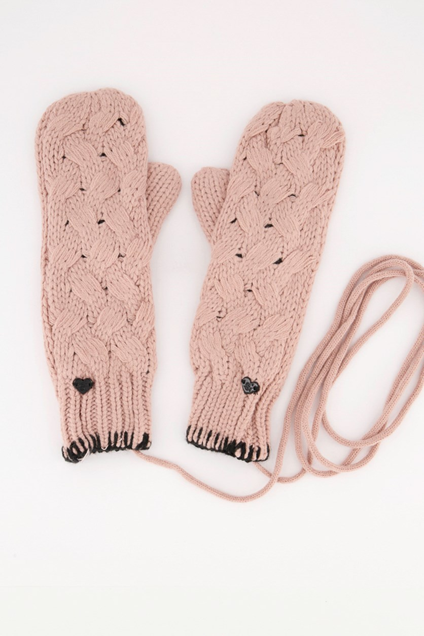 Women's Knitted Gloves With String, Old Rose