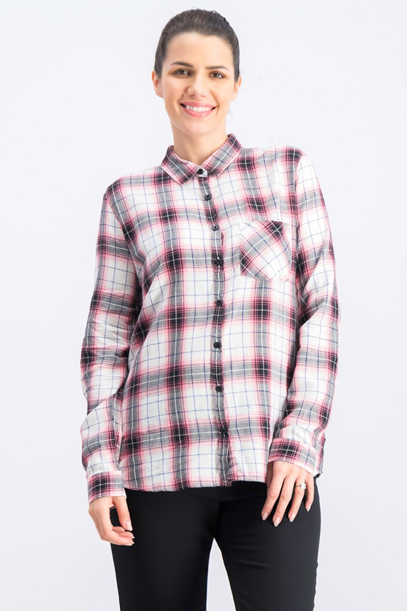 Womens Checkered Long Sleeve Top, Pink Combo