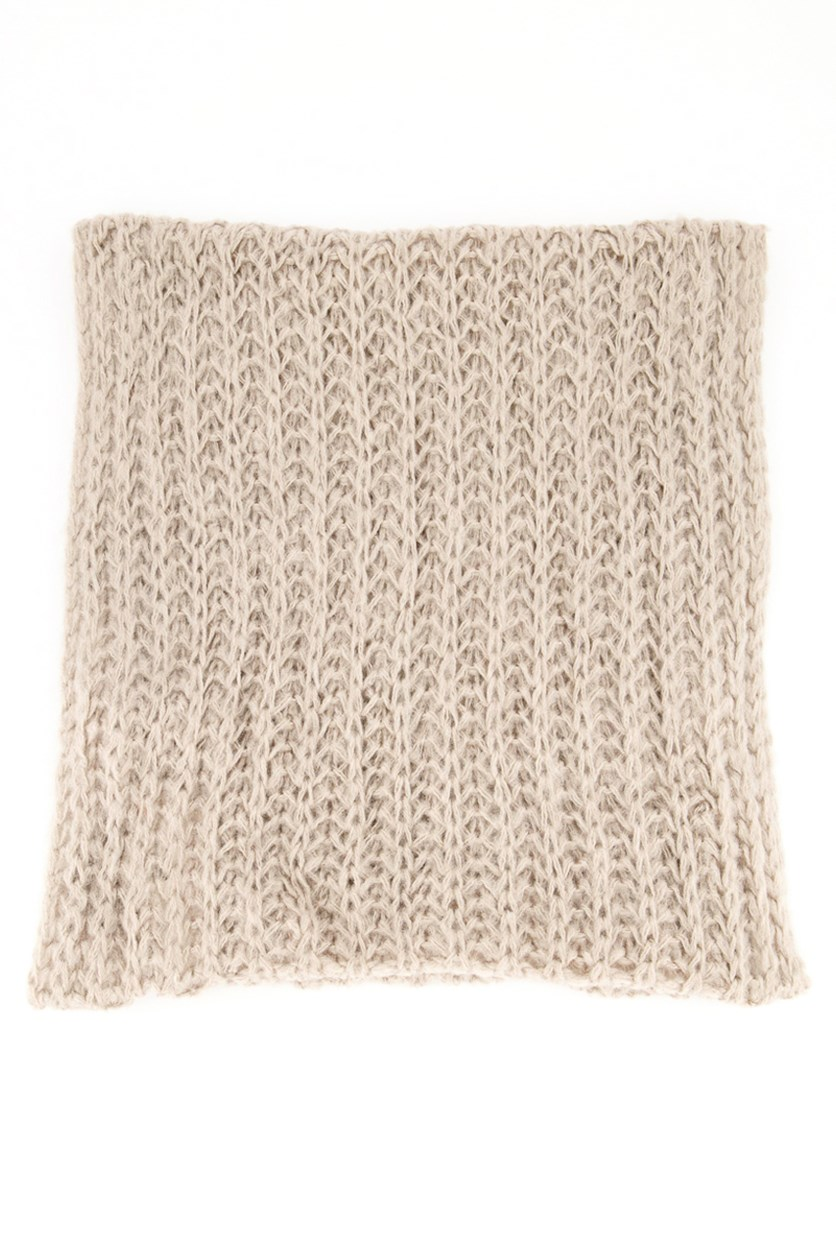 Womens Knitted Scarf, Beige Gray
